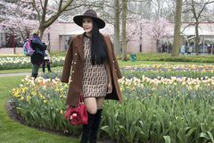 Woman in brown coat poses in the botanical garden of Keukenhof in spring Stock Photography