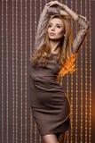 Woman in brown dress Stock Photo