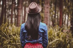 Woman in Brown Fedora Hat Standing While Facing Into the Forest Royalty Free Stock Photo