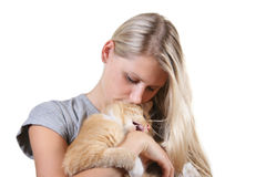 woman with brown fluffy cat Royalty Free Stock Images