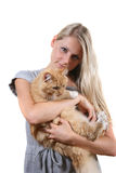 Woman with brown fluffy cat. Isolated on white background Royalty Free Stock Photo
