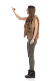 Woman In Brown Fur Waistcoat Drawing, Side View Stock Photos