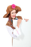 Woman with brown hat Royalty Free Stock Photo
