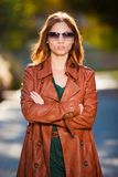 Woman  brown  leather  coat Royalty Free Stock Photo