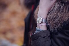Woman in Brown Parka Jacket With Gold Round Analog Watch Stock Photography