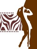 Woman and brown pattern Stock Photography