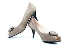 Woman brown shoes Royalty Free Stock Photo