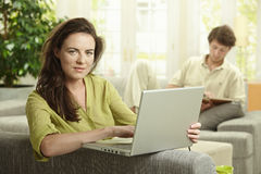 Woman browsing internet Royalty Free Stock Photo