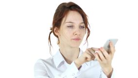 Woman Browsing on Smartphone, White Background. High quality Royalty Free Stock Image