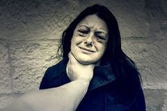 Woman with bruised eyes. In battered, domestic violence royalty free stock image