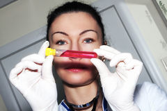 Woman brunette doctor with test tube Stock Image
