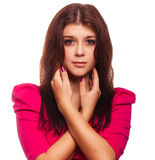 Woman brunette girl in pink dress isolated Stock Photos