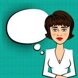 Woman brunette TV presenter white dress pop art Royalty Free Stock Images