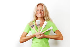 A woman with a brush Stock Images