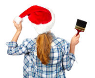 Woman with brush. Christmas Stock Images