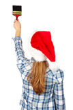 Woman with brush. Christmas Royalty Free Stock Photos