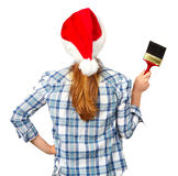 Woman with brush. Christmas Royalty Free Stock Image