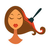 Woman and brush that colors hair in red. Woman`s head with closed eyes and long brown hair colored in bright red with special black brush isolated vector stock illustration