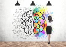 Woman with brush, creativity vs exact knowledge. Rear view of a businesswoman wearing a black skirt and a white blouse drawing with a paintbrush. A concrete wall Royalty Free Stock Photography