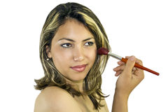 Woman with brush for make-up Stock Photo