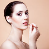 woman with brush for makeup Stock Photos