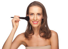 Woman with Brush for Makeup Royalty Free Stock Photos