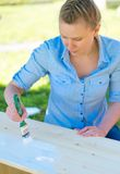 Woman with brush. Stock Photo