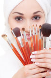Woman with brushes for make-up Royalty Free Stock Photo