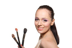 Woman with brushes for make-up Royalty Free Stock Images