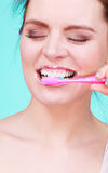 Woman brushing cleaning teeth Royalty Free Stock Photography