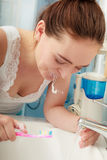 Woman brushing cleaning teeth. Oral hygiene. Royalty Free Stock Photo