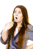 Woman brushing cleaning teeth. Royalty Free Stock Photo