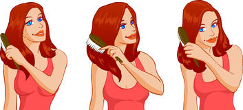 Woman Brushing Hair Royalty Free Stock Photo