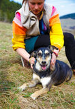 Woman brushing her dog in spring meadows. Smiling Stock Images