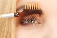 Woman brushing her eyelashes. Close up of woman doing her make up, preparing lashes using brush tool brushing eyelashes royalty free stock photos