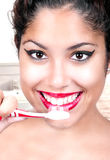 Woman Brushing her Teeth Stock Photo