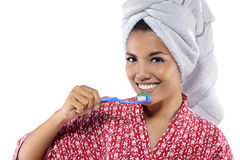 Woman Brushing Her Teeth Royalty Free Stock Images