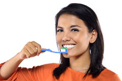 Woman Brushing Her Teeth Royalty Free Stock Photos