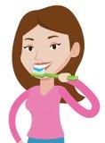Woman brushing her teeth vector illustration. Stock Image