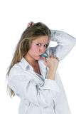 Woman brushing teeth Royalty Free Stock Images