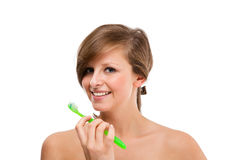 Woman brushing teeth isolated on white Stock Photo