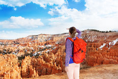 Woman in Bryce canyon looking to distance Royalty Free Stock Photos