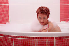 Woman In Bubble Bath 2 Stock Photos