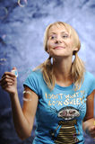 Woman with bubble gum Stock Photos