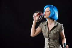 Woman with bubbles Royalty Free Stock Image