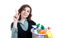 Woman with bucket full of cleaning powder Royalty Free Stock Images