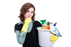 Woman with bucket full of cleaning powder stock photo