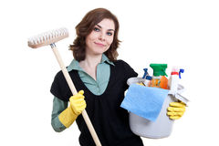 Woman with bucket full of cleaning powder and mop Royalty Free Stock Photo