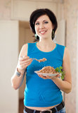 Woman with buckwheat cereal Stock Images