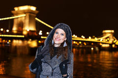Woman in Budapest at night Stock Images